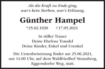 Anzeige Günther Hampel