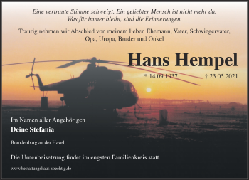 Anzeige Hans Hempel