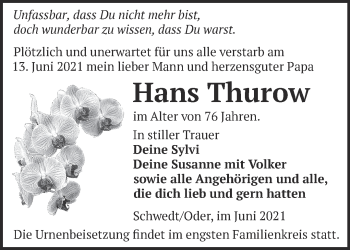 Anzeige Hans Thurow