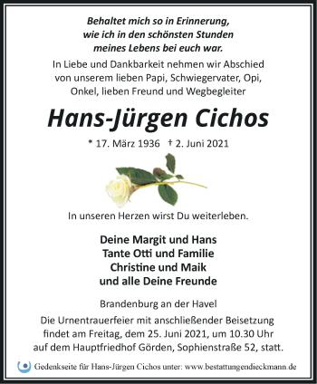 Anzeige Hans Jürgen Cichos
