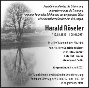 Anzeige Harald Röseler