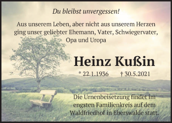 Anzeige Heinz Kußin