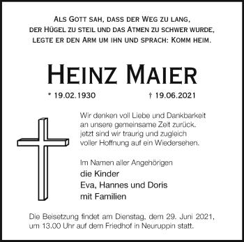 Anzeige Heinz Maier