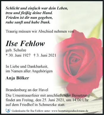 Anzeige Ilse Fehlow