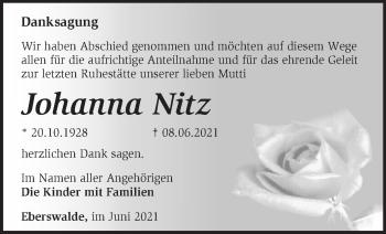 Anzeige Johanna Nitz