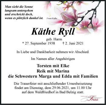Anzeige Käthe Ryll