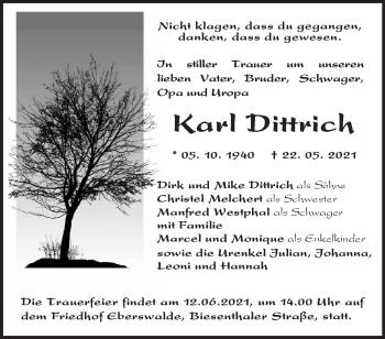 Anzeige Karl Dittrich