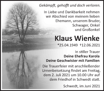 Anzeige Klaus Wienke