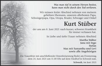 Anzeige Kurt Stüber
