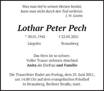 Anzeige Lothar Peter Pech