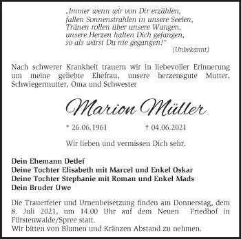 Anzeige Marion Müller