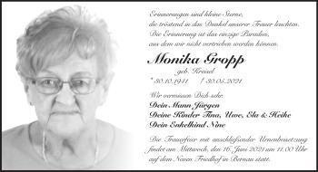 Anzeige Monika Gropp