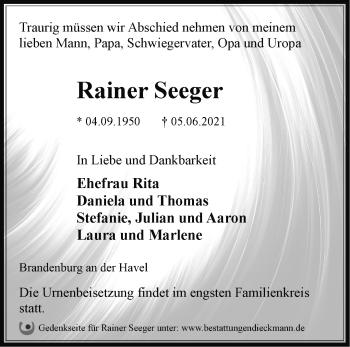 Anzeige Rainer Seeger