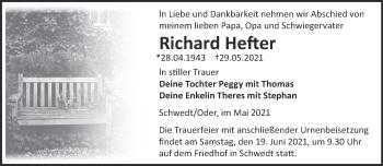 Anzeige Richard Hefter