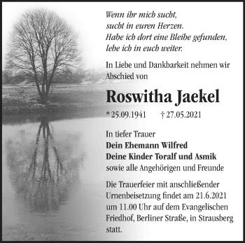 Anzeige Roswitha Jaekel