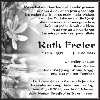 Anzeige Ruth Freier
