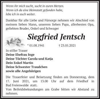 Anzeige Siegfried Jentsch