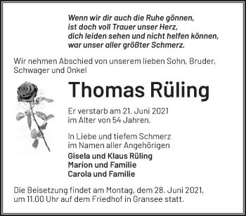 Anzeige Thomas Rüling