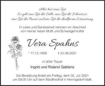Anzeige Vera Spahns