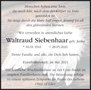 Anzeige Waltraud Siebenhaar