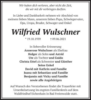 Anzeige Wilfried Wulschner