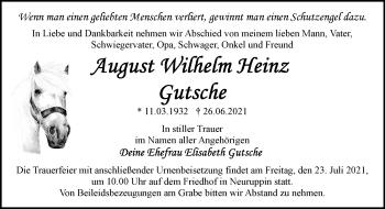 Anzeige August Wilhelm Heinz Gutsche