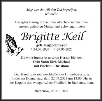 Anzeige Brigitte Keil