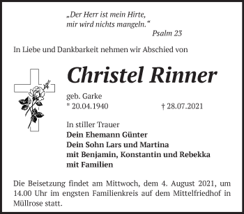 Anzeige Christel Rinner