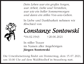 Anzeige Constanze Sontowski