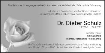 Anzeige Dieter Schulz