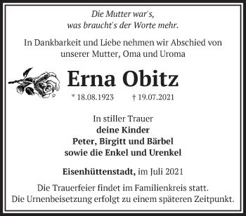 Anzeige Erna Obitz