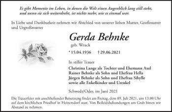 Anzeige Gerda Behnke