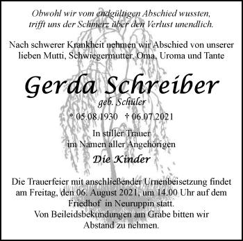 Anzeige Gerda Schreiber