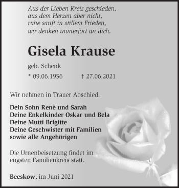 Anzeige Gisela Krause