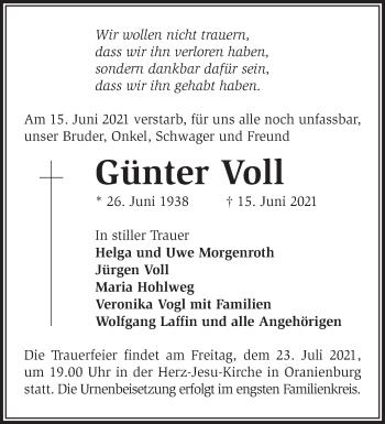 Anzeige Günter Voll