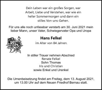 Anzeige Hans Felkel