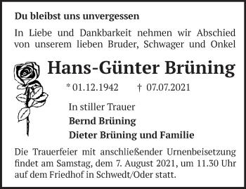 Anzeige Hans-Günter Brüning