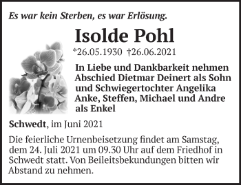 Anzeige Isolde Pohl