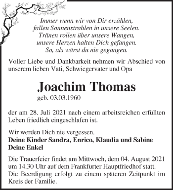 Anzeige Joachim Thomas