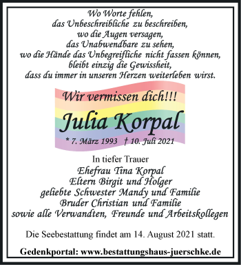 Anzeige Julia Korpal