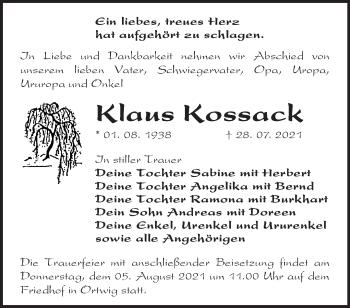 Anzeige Klaus Kossack