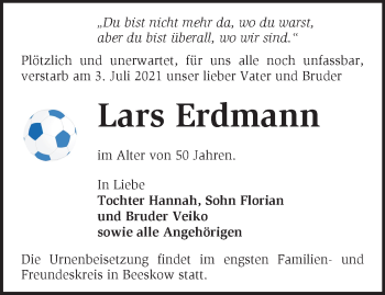 Anzeige Lars Erdmann