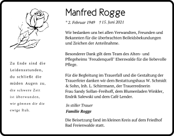 Anzeige Manfred Rogge