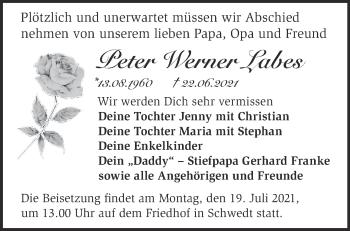 Anzeige Peter Werner Labes