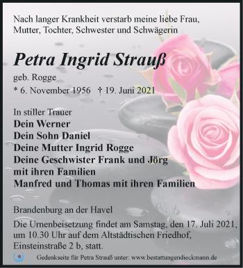 Anzeige Petra Ingrid Strauß
