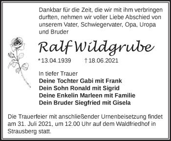 Anzeige Ralf Wildgrube