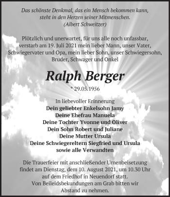 Anzeige Ralph Berger