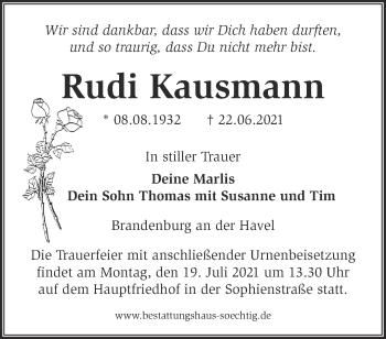 Anzeige Rudi Kausmann