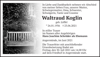 Anzeige Waltraud Koglin