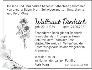 Anzeige Waltraut Diedrich
